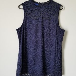 NWOT Blue Floral Lace Blouse